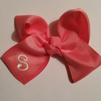 Peach Bow with Initial