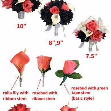 Build your wedding package-Navy and Coral color theme-Bouquet,corsage,boutonniere