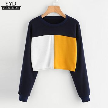 Hoodies Female Autumn 2017 Harajuku Patchwork Short Style Cropped Sweatshirts Women Long Sleeve O neck Sudaderas Mujer Tops #824