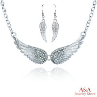 Brightly Choker Necklaces with Angel Wings OL Style Women Necklaces