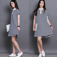 Striped Printed Peter Pan Collar Mini Dress