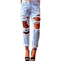 New Fashion Hole Ripped Jeans Woman Skinny Denim Jeans Femme Slim Ripped Pencil Pants Washed Boyfriend Jeans For Women Trousers