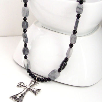 Large Cross Pendant Necklace, Cross Pendant Jewelry, Cross Necklace, Rhinestone Cross Necklace, Cross Jewelry, Black and Grey