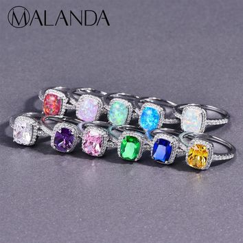 MALANDA Opal Stone Rings For Women 2018 New Fashion Cubic Zirconia Silver Color Vintage Ring Wedding Party Office Jewelry Gift