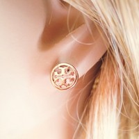 Rosegold color, Toryburch inspired, Petit Earrings