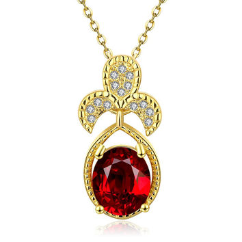 Gold Plated Trio Petals Ruby Pendant Necklace
