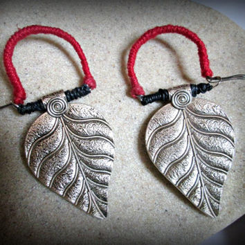 Tribal ear weights-handmade ear weights-guage earring-large leaf ear weights-miao silver earring-red ear weights