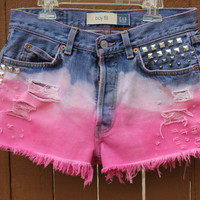 Pink Dip Dyed Studs High Waisted Shorts by Lovellfaye on Etsy