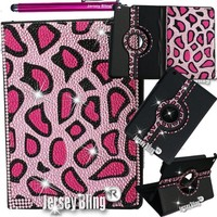 PINK CHEETAH Jersey Bling® Ipad 2/3/4 Case with Crystals, Rhinestones Faux Leather Folio with 360 Rotating Case w/FREE Stylus & XTRA BLING!