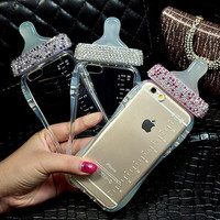 Luxury Diamond Cute Cartoon Baby Nipple Milk Bottle Mobile Phone Case For iPhone 6 6 Plus 5S SE TPU Phone Cover With Lanyard