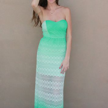 Seafoam Lace Ombre Dress