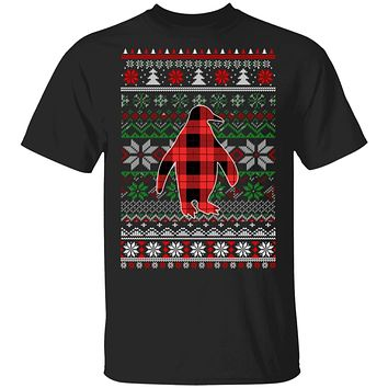 Penguin Red Plaid Ugly Christmas Sweater Funny Gifts