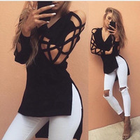 2017 Sexy V Neck Long Sleeve T Shirts Women Fashion Irregular Hem T-shirt Hollow out Casual Split Tees Loose Tops Black M0395