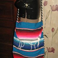 Vintage Mexican woven   blanket  Boho shoulder  handbag