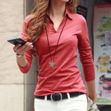 Shirt Collar Long Sleeve Top