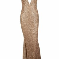 Honey Couture THESSY Gold Mermaid Sequin Formal Gown Dress