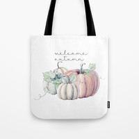 welcome autumn orange pumpkin Tote Bag by Sylvia Cook Photography