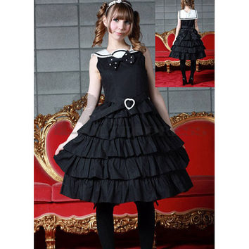 Affordable Sleeveless Multi-Layer Cotton Black Sweet Lolita Dress [TQL120507010] - £50.59