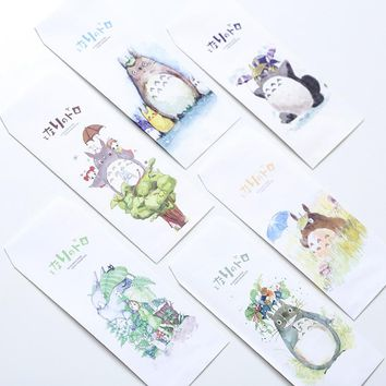 5Pcs/pack New Novelty Miyazaki Hayao Totoro Envelope Message Card Letter Stationary Storage Paper Gift M0393