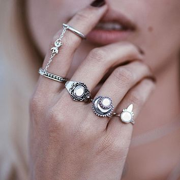 5pcs Silver Boho Women Stack Plain Above Knuckle Ring Midi Finger Tip Rings Set