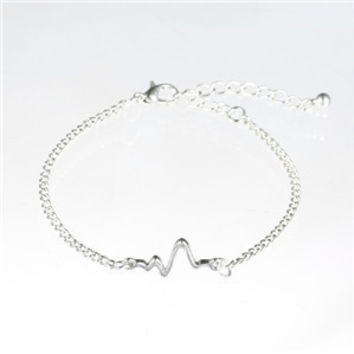 3 colors New Arrival Heart beat Heartbeat Rhythm Chain Bracelet with Dangling Jewelry Bracelets Golden silver black-0411