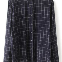 Navy Stand Collar Plaid Loose Blouse