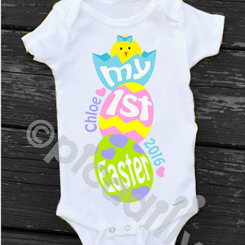Baby Girl My First Easter Onesuit Personalized Easter Bodysuit for Babys First Easter with Chick and Eggs Newborn Easter Baby Girl