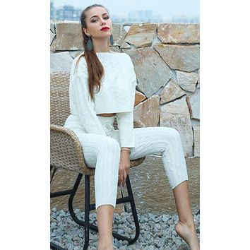 All Warmed Up Long Sleeve Cable Boat Neck Crop Pullover Sweater Drawstring Legging Two Piece Jumpsuit - 3 Colors Available