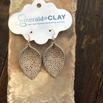 Crushed Shell Leather Petal Earring