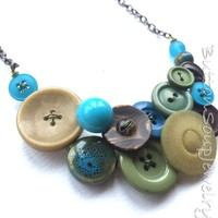 Earthy Button and Bead Necklace in Aqua, Green, Brown, and Olive
