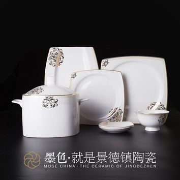 The black suit bone china tableware ceramic tableware set quality Guzhici tableware dishes luxury porcelain Necklace