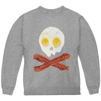 Eggs And Bacon Skull And Cross Bones Youth Sweatshirt