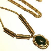 Long Green Enamel and Gold Tone Geometric Necklace