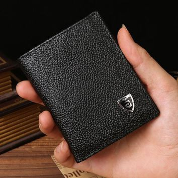 JINBAOLAI Men Short Walltes Leather Credit/ID Card Holder Billfold Purse Mens Mini Wallet