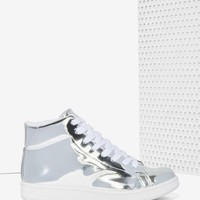 JC Play by Jeffrey Campbell Player High-Top Sneaker - Silver Mirror