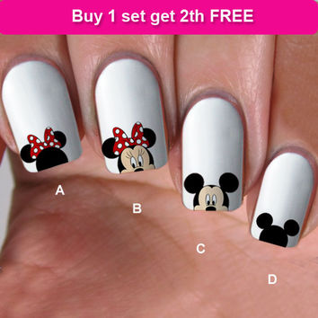 buy 1 get 1 free, 60 NAIL DECALS, minnie love, Nail Art,  WaterSlide nail  Decals, Nail Art design,Nail Transfers,Tattoos, DS3