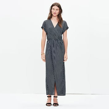 Wrap-Front Maxi Dress in Stitch Stripe : | Madewell