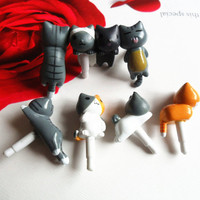 Kawaii Cat Dust Plug- Miniature 3D Kitten Cat Animal Friendship Lover Gift Phone Plug Charm Decoration 3.5mm Ear Cap iPhone iPad HTC Samsung