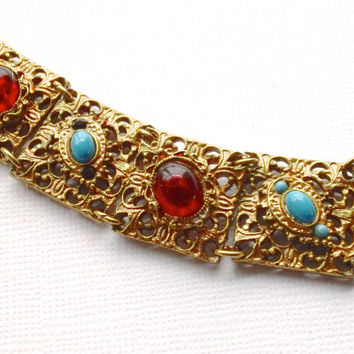 Gilt Metal Turquoise & Cranberry Glass Bracelet Edwardian Vintage Christmas Jewelry Fashion Accessory