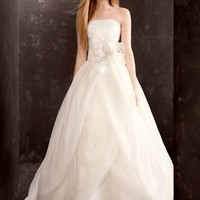 Organza Gown with Draped Bodice and Tulle Skirt - David's Bridal - mobile