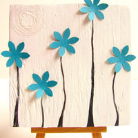 Nursery Art on Upcycled Wood Block-Mixed Media Art-Also Great For: Wedding Anniversary Gift, Birthday for Her, Home Decor
