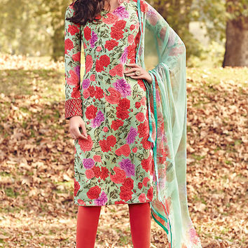 Red and Pastel Green Printed Tussar Silk Straight Cut Suit