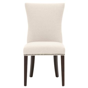 Avery Dining Chair (Set of 2) Jute Fabric, Espresso   Small Brushed Brown Nail Heads