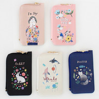 With Alice Rim pattern coner zipper card case