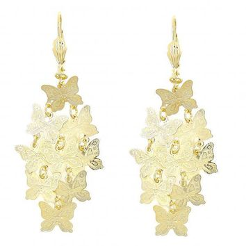 Gold Layered 090.003 Chandelier Earring, Butterfly Design, Polished Finish, Gold Tone