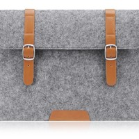 Laptop Sleeve, PLEMO MacBook Sleeve, Felt PU Leather 13 - 13.3 Inch Laptop Case Cover Bag for 12.9 iPad Pro / MacBook Air / MacBook Pro / Notebook / Ultrabook / Chromebook, Grey