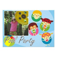 Customized Photo Pool Party Swimming Birthday 5x7 Paper Invitation Card