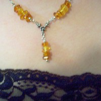 Necklace and Earrings Sterling Silver and Amber 3 piece set magic jewelry