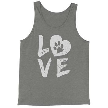 I Love My Dog Paw Print  Jersey Tank Top for Men