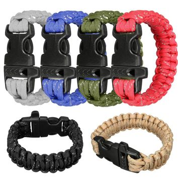Outdoor Unisex survival Rescue Paracord Bracelets Climbing rescue emergency Ropes escape bracelet rope Pulseras with whistle